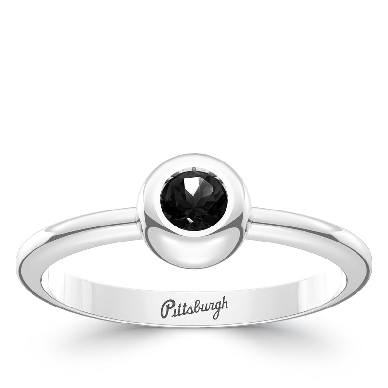 Pittsburgh Pirates Onyx Engraved Ring In Sterling Silver