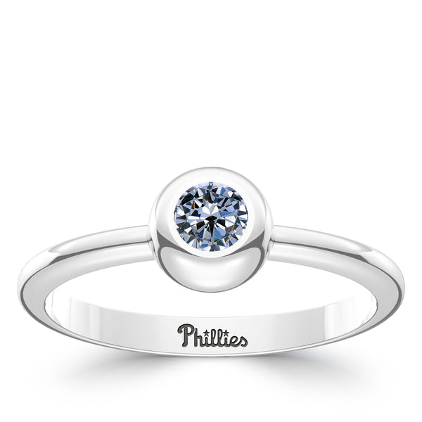 Philadelphia Phillies White Sapphire Engraved Ring In Sterling Silver