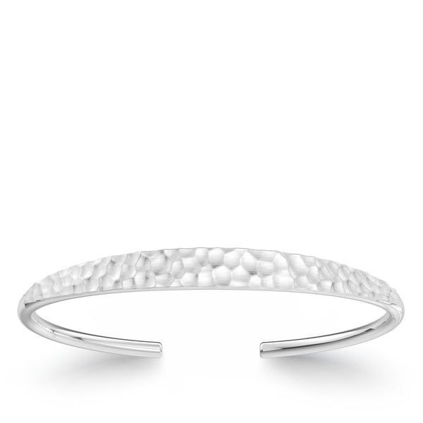 Bixlers Simplicity Diamond Hammered Finish Cuff In Sterling Silver