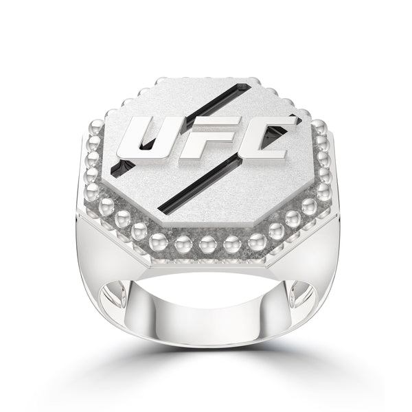 Ufc Octagon Studded Ring In Sterling Silver