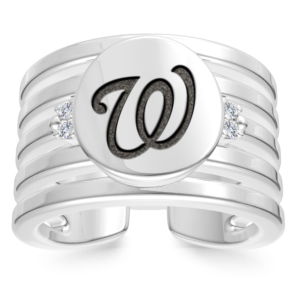 Washington Nationals Diamond Logo Engraved Multiband Ring In Sterling Silver