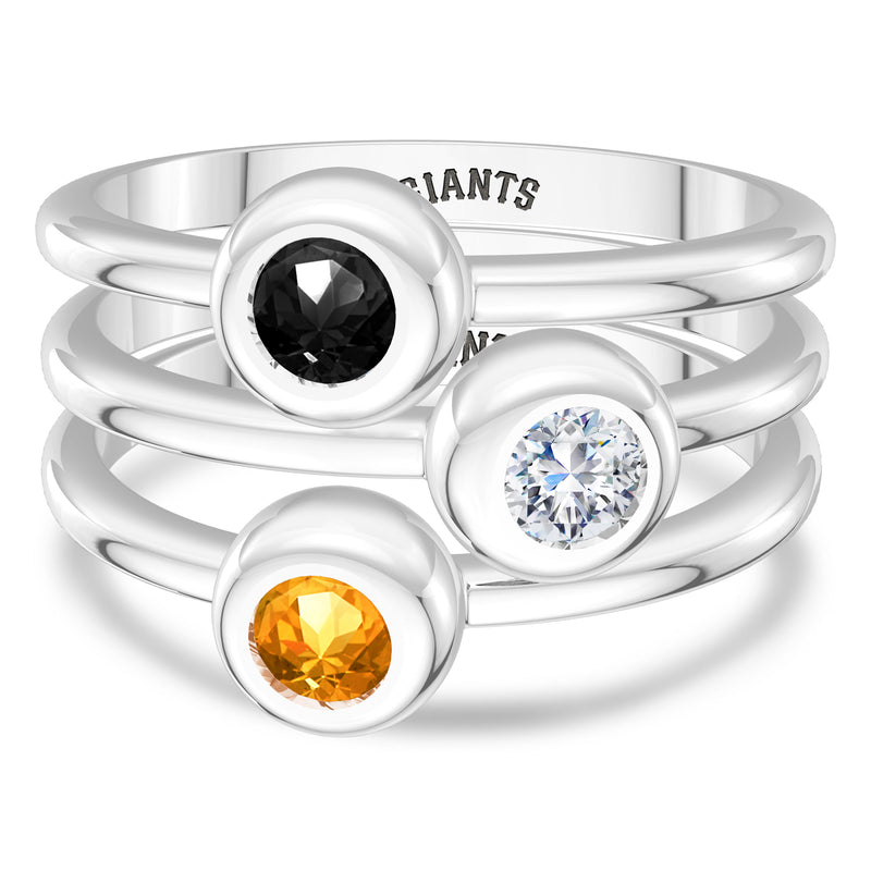 San Francisco Giants Diamond Engraved Ring In Sterling Silver