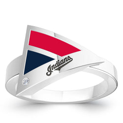 Cleveland Indians Diamond Engraved Geometric Ring In Sterling Silver