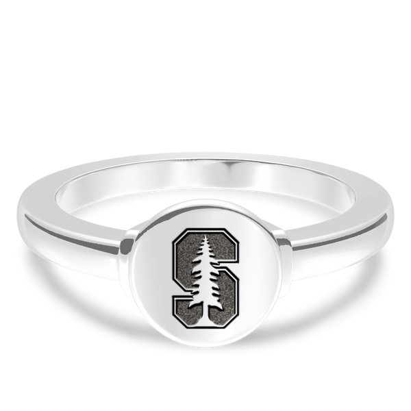 Stanford University Logo Engraved Ring In Sterling Silver