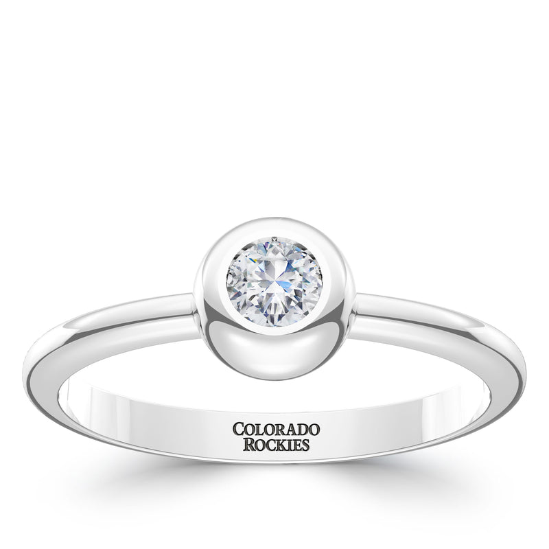 Colorado Rockies Diamond Engraved Ring In Sterling Silver