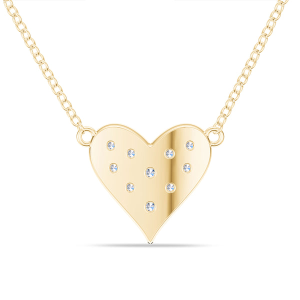 Bixlers Pure Love Diamond Heart Necklace In 14K Yellow Gold
