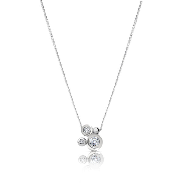 Bixlers Easton Diamond Bezel Cluster Necklace In 14K White Gold