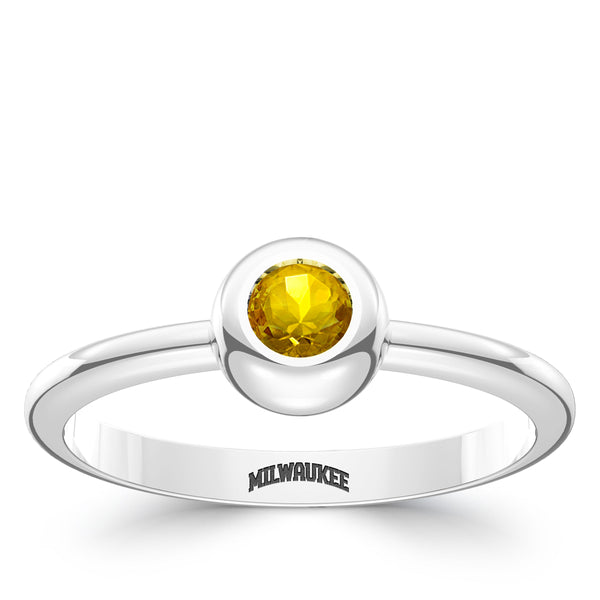Milwaukee Brewers Yellow Sapphire Engraved Ring In Sterling Silver