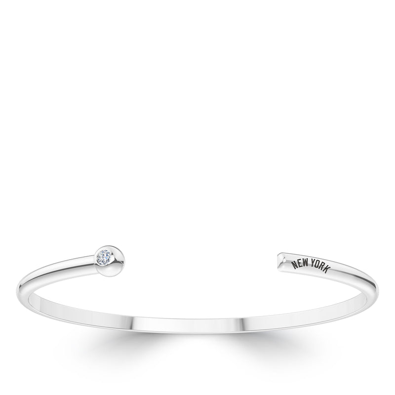 New York Yankees Diamond Engraved Cuff Bracelet In Sterling Silver