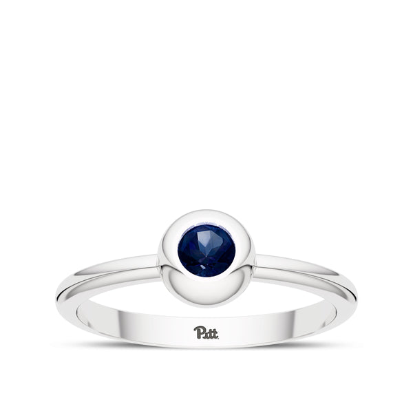 University Of Pittsburgh Sapphire Engraved Ring In Sterling Silver