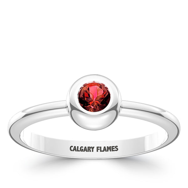 Calgary Flames Ruby Engraved Ring In Sterling Silver