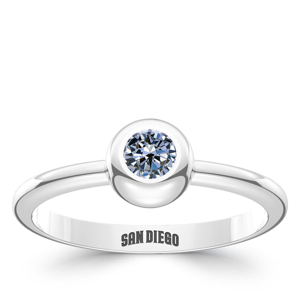 San Diego Padres White Sapphire Engraved Ring In Sterling Silver