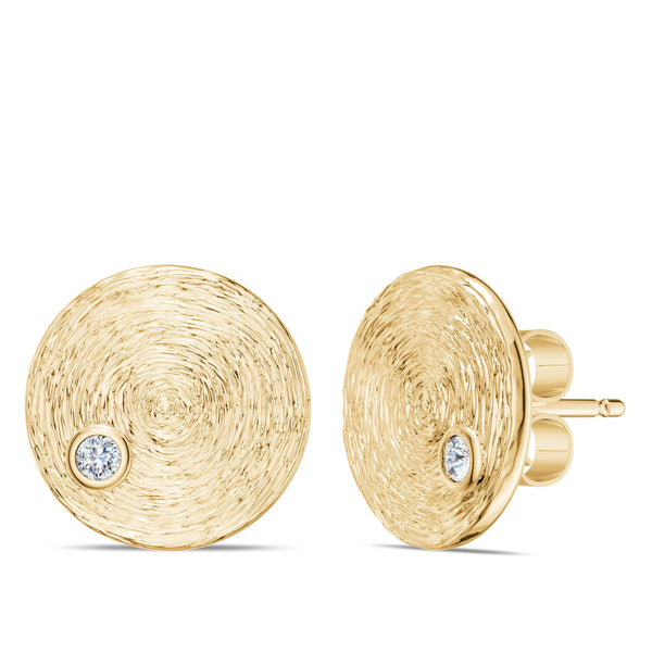 Bixlers Simplicity Diamond Circular Textured Disc with Earring In 14K Yellow Gold