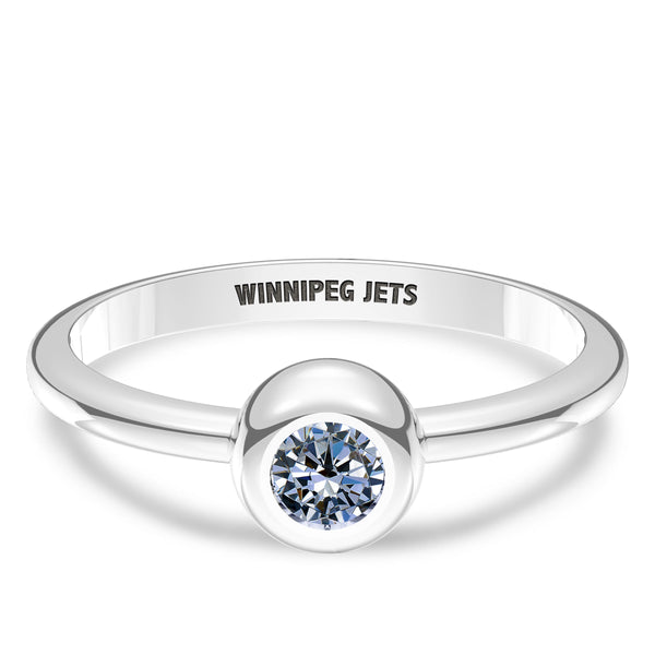 Winnipeg Jets White Sapphire Engraved Ring In Sterling Silver