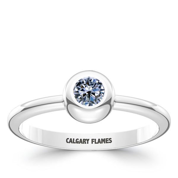 Calgary Flames White Sapphire Engraved Ring In Sterling Silver