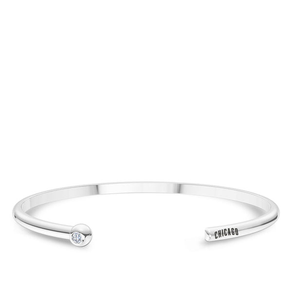Chicago Cubs Diamond Engraved Cuff Bracelet In Sterling Silver