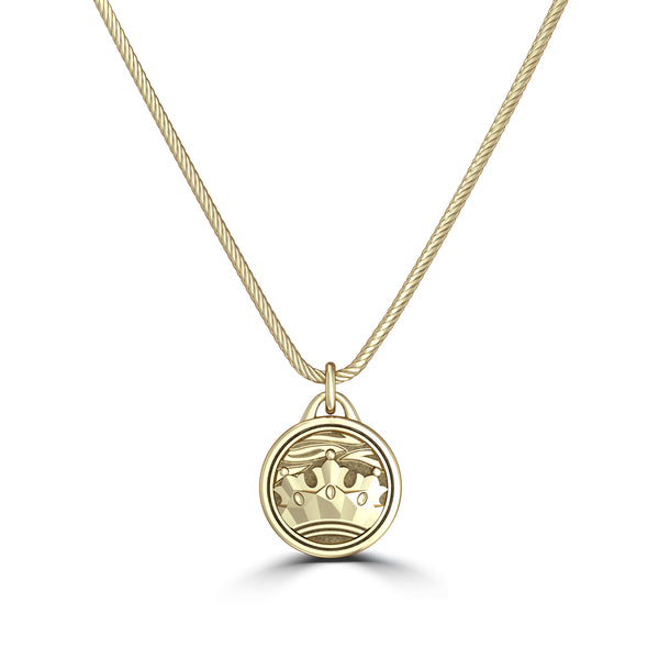 """The Notorious"" Conor Mcgregor Rope Crown Pendant In 14K Yellow Gold"