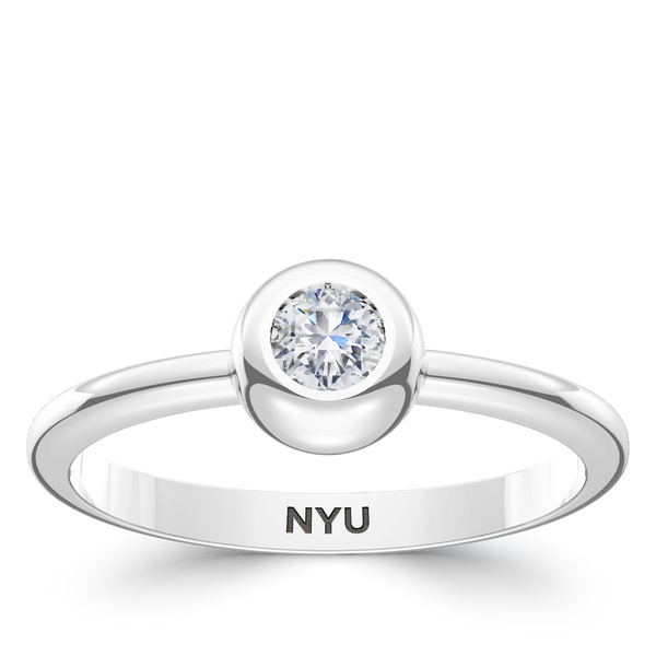New York University Diamond Engraved Ring In Sterling Silver