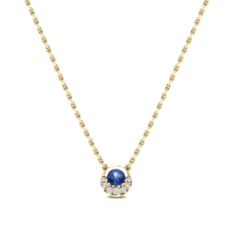 Bixlers Easton Classics Diamond Crescent Halo Necklace In 14K Yellow Gold