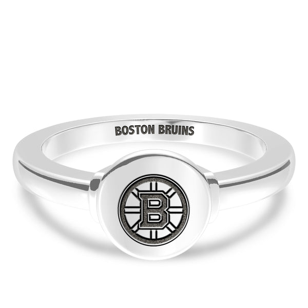 Boston Bruins Logo Engraved Ring In Sterling Silver