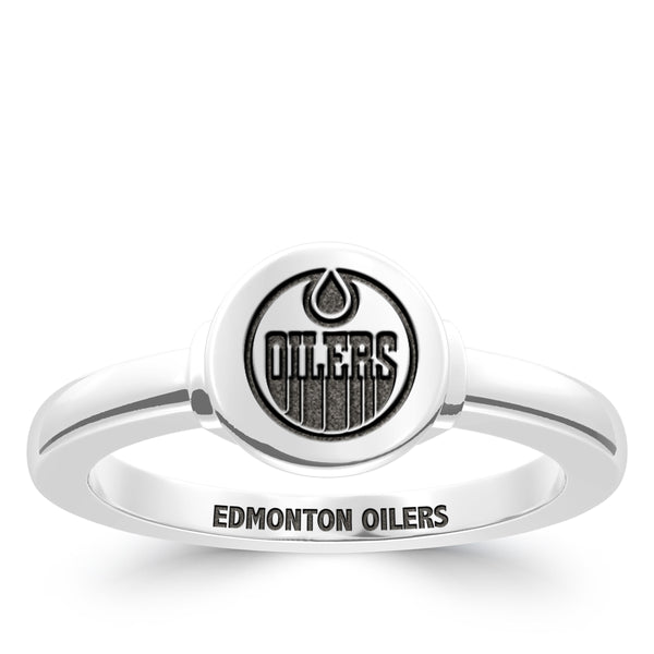Edmonton Oilers Logo Engraved Ring In Sterling Silver
