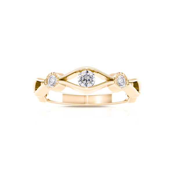 Bixlers Easton Diamond Milgrain Open Wave Ring In 14K Yellow Gold