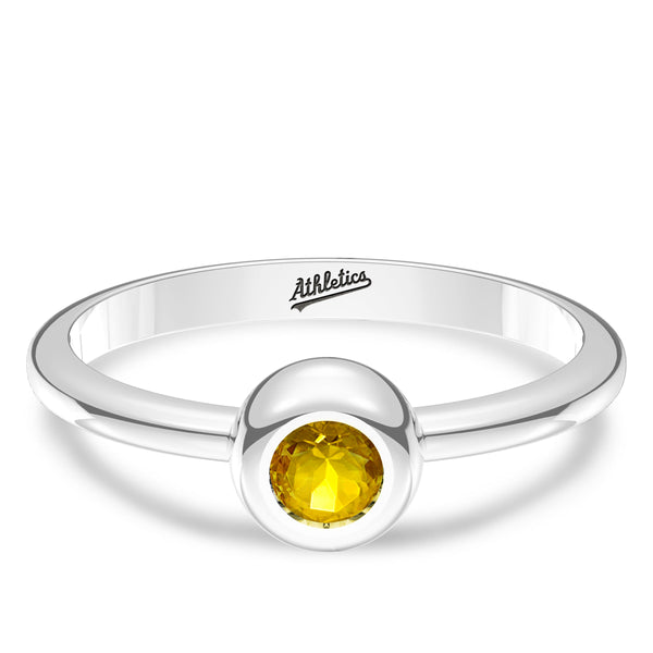 Oakland Athletics Yellow Sapphire Engraved Ring In Sterling Silver