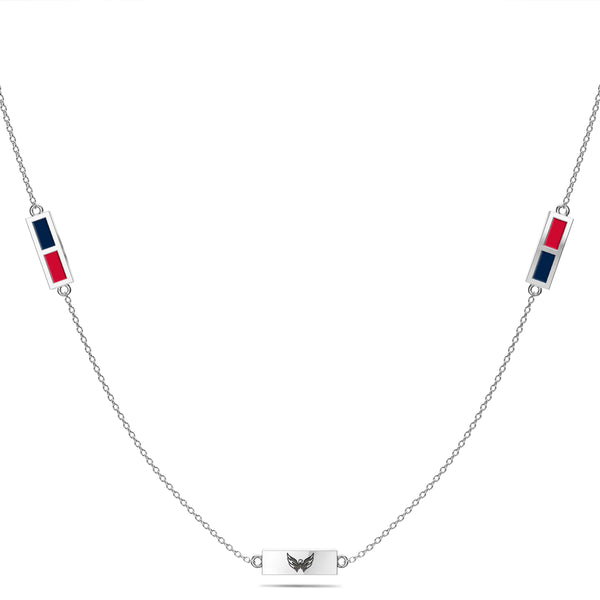 Washington Capitals Triple Station Necklace In Sterling Silver