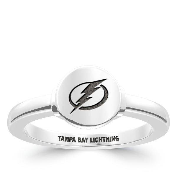 Tampa Bay Lightning Logo Engraved Ring In Sterling Silver