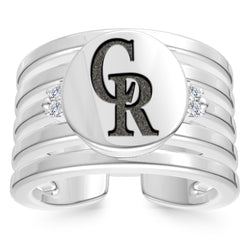 Colorado Rockies Diamond Logo Engraved Multiband Ring In Sterling Silver