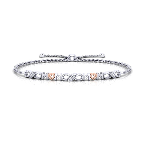 Bixlers Pure Love Diamond Infinity & Mom Bracelet In Sterling Silver & 14K Rose Gold