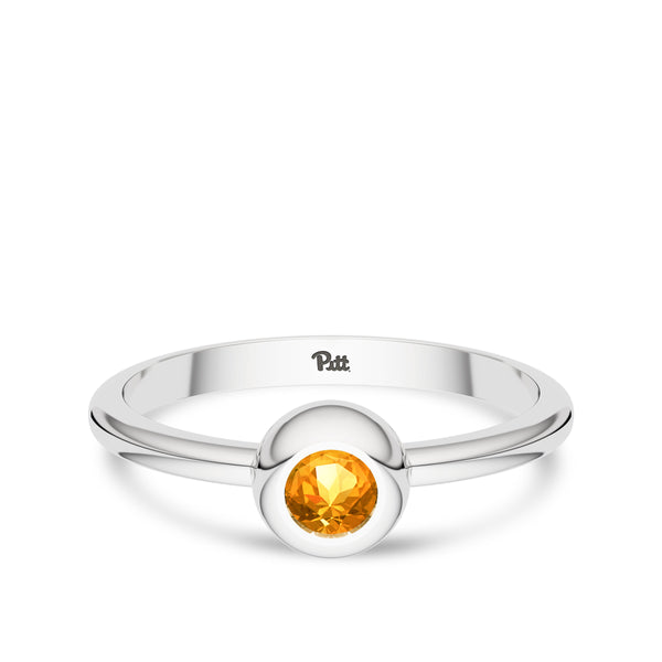 University Of Pittsburgh Yellow Sapphire Engraved Ring In Sterling Silver