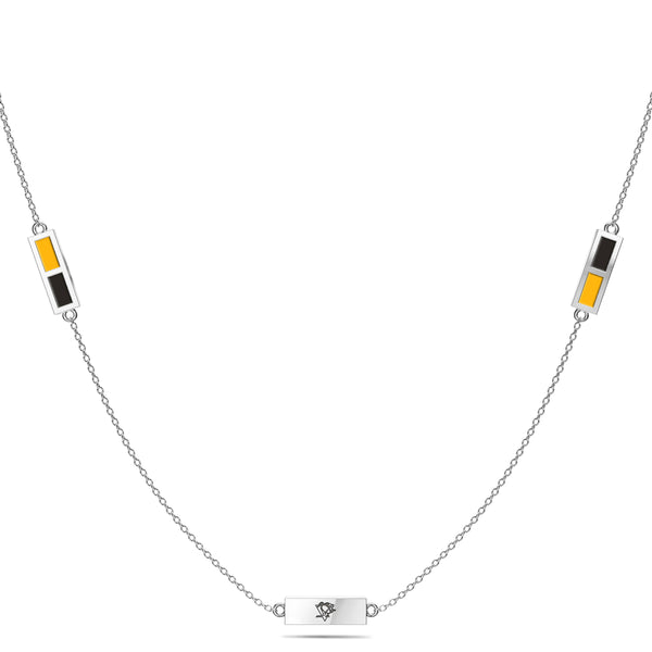 Pittsburgh Penguins Triple Station Necklace In Sterling Silver