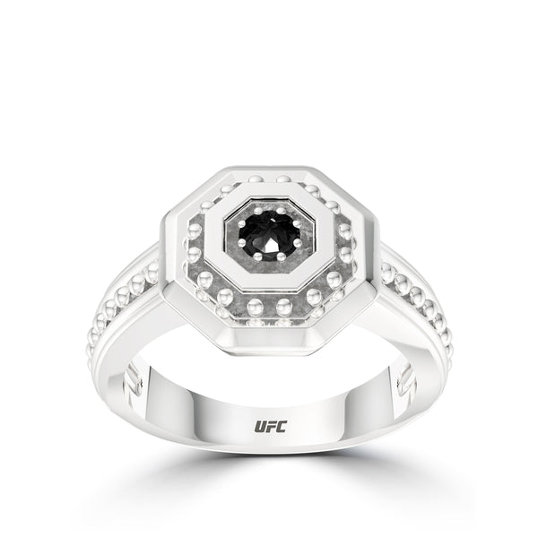 Ufc Diamond Deluxe Octagon Beaded Ring In Sterling Silver