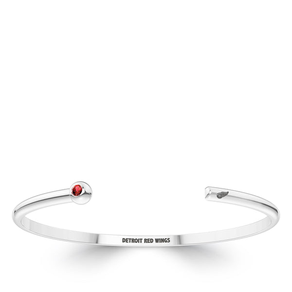 Detroit Redwings Ruby Engraved Cuff Bracelet In Sterling Silver