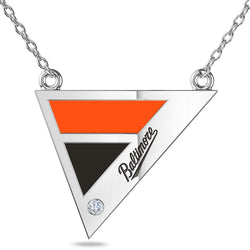 Baltimore Orioles Geometric Necklace In Sterling Silver