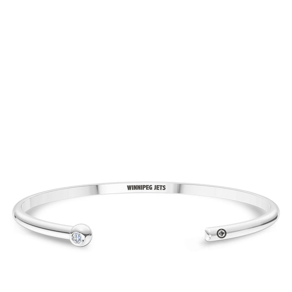 Winnipeg Jets Diamond Engraved Cuff Bracelet In Sterling Silver