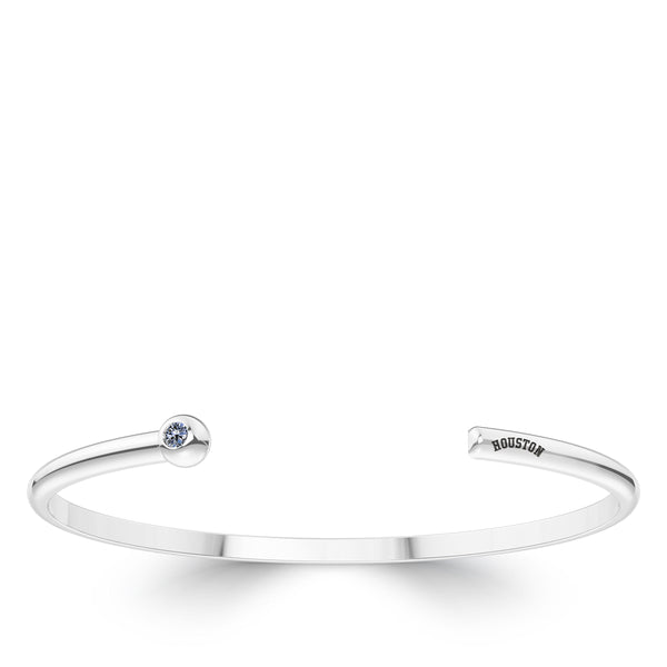 Houston Astros White Sapphire Engraved Cuff Bracelet In Sterling Silver