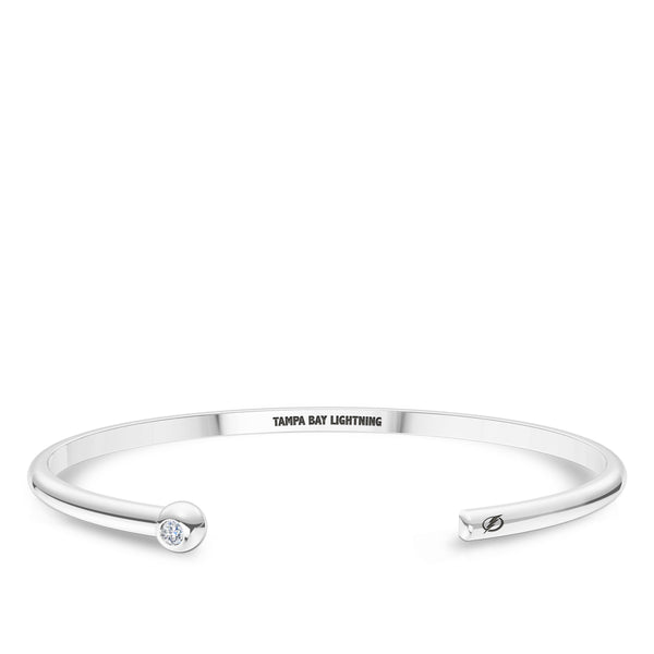 Tampa Bay Lightning Diamond Engraved Cuff Bracelet In Sterling Silver