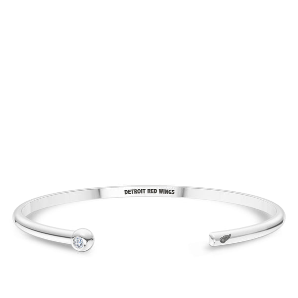 Detroit Redwings Diamond Engraved Cuff Bracelet In Sterling Silver