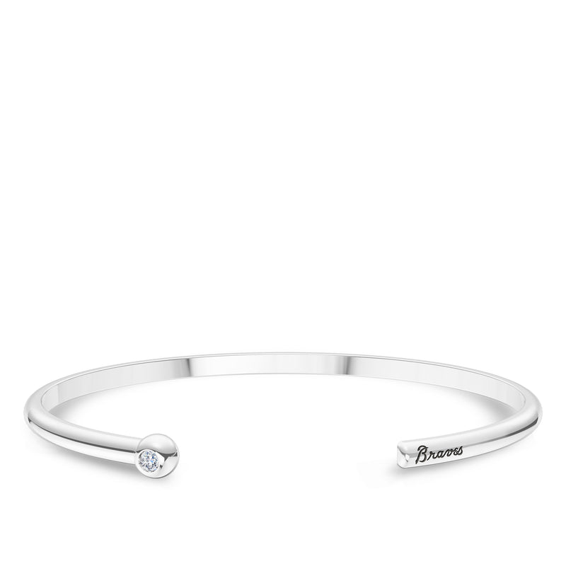 Atlanta Braves Diamond Engraved Cuff Bracelet In Sterling Silver