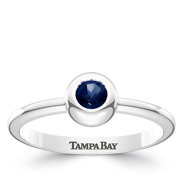 Tampa Bay Rays Sapphire Engraved Ring In Sterling Silver