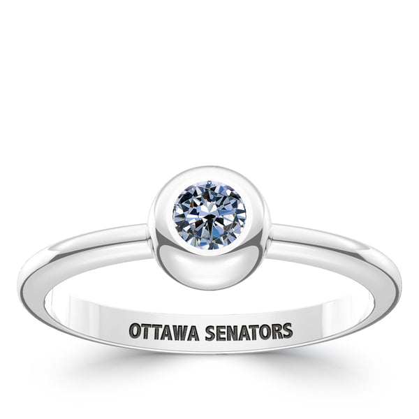 Ottawa Senators White Sapphire Engraved Ring In Sterling Silver