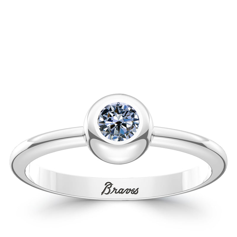 Atlanta Braves White Sapphire Engraved Ring In Sterling Silver
