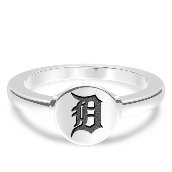 Detroit Tigers Logo Engraved Ring In Sterling Silver