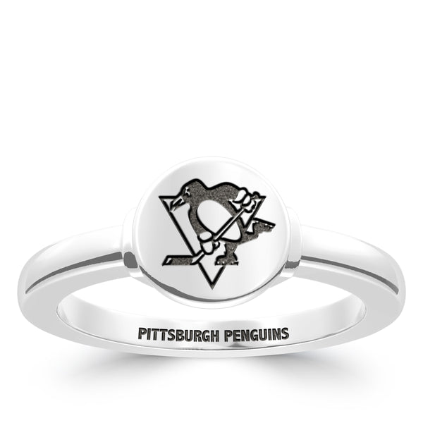 Pittsburgh Penguins Logo Engraved Ring In Sterling Silver