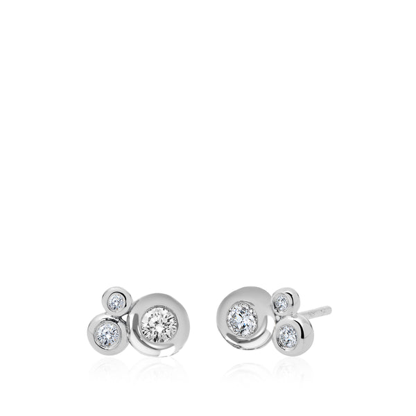 Bixlers Dew Drop Diamond Cluster Earring In 14K White Gold