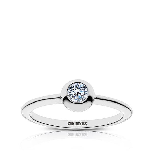 Arizona State University Diamond Engraved Ring In Sterling Silver