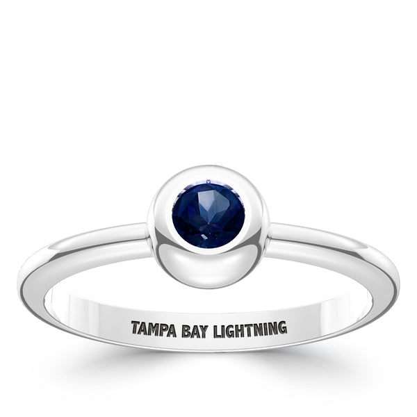 Tampa Bay Lightning Sapphire Engraved Ring In Sterling Silver
