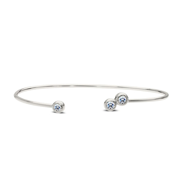 Bixlers Dew Drop Diamond 3 Bezel Cuff In 14K White Gold